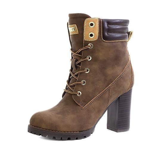 ebec7d37b3976a Marimo Damen Schnür Stiefel Stiefeletten Blockabsatz in Hochwertiger  Lederoptik Khaki 36