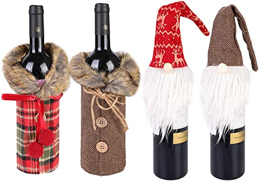 Santa Claus Red Wine Bottle Cover Bags Dinner Table Party Decor For Christmas HU