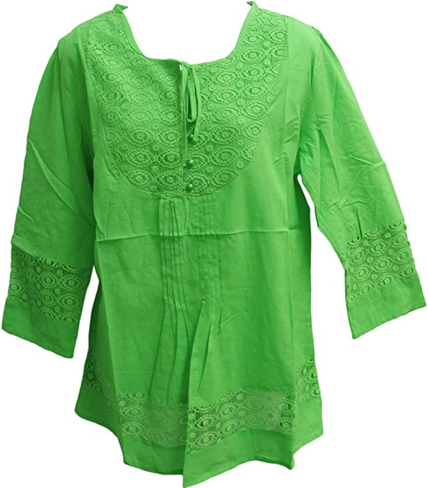 Yoga Trendz Missy Plus Indian Cotton Lace 3 4 Sleeve Peasant