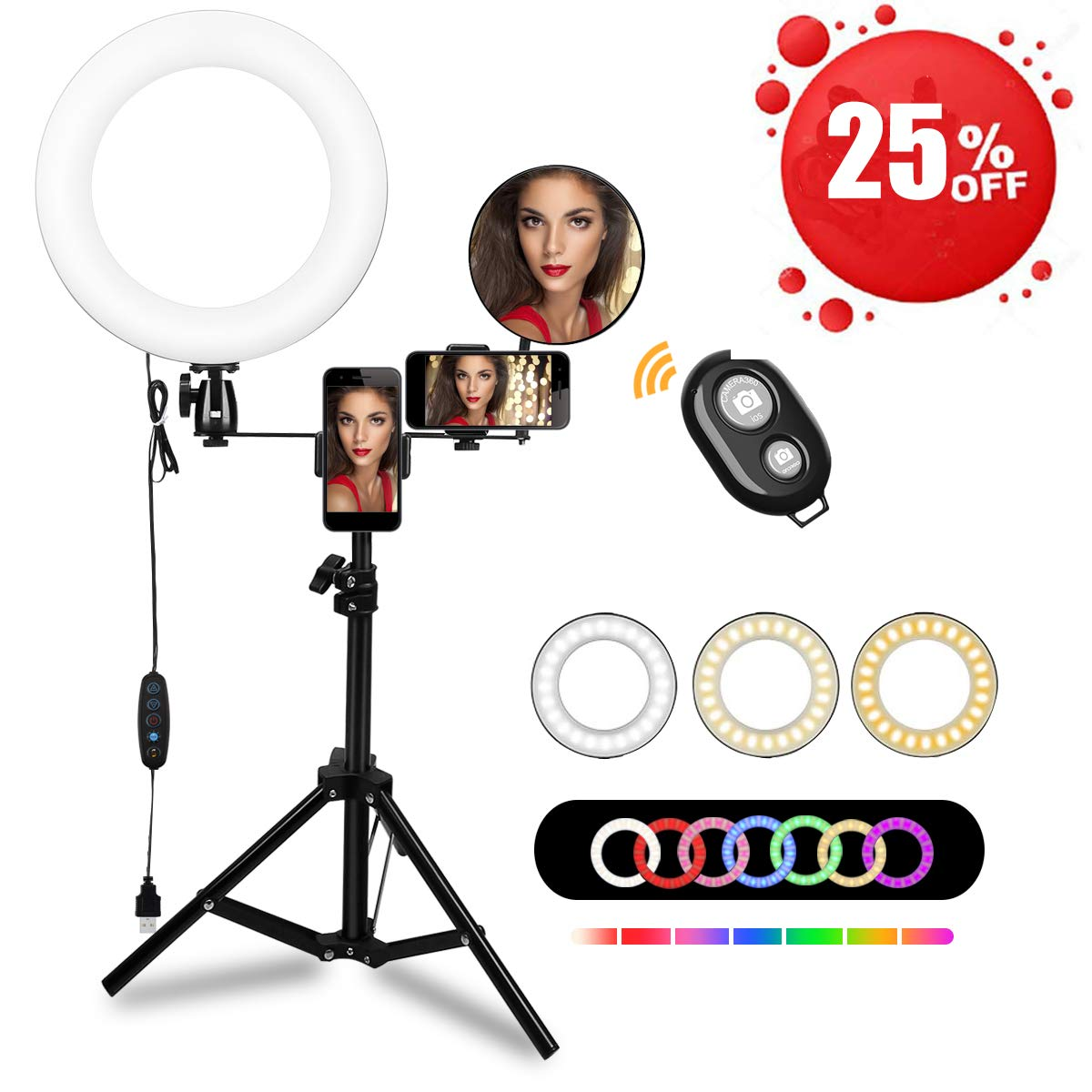 10'' Ring Light with Tripod Stand LED Selfie Ring Light with RGB& 3 Light Modes,Phone Holders,Brightness for Camera Videos Recording Photography Livestream Vlog Makeup Selfie YouTube Shooting by Keenstone
