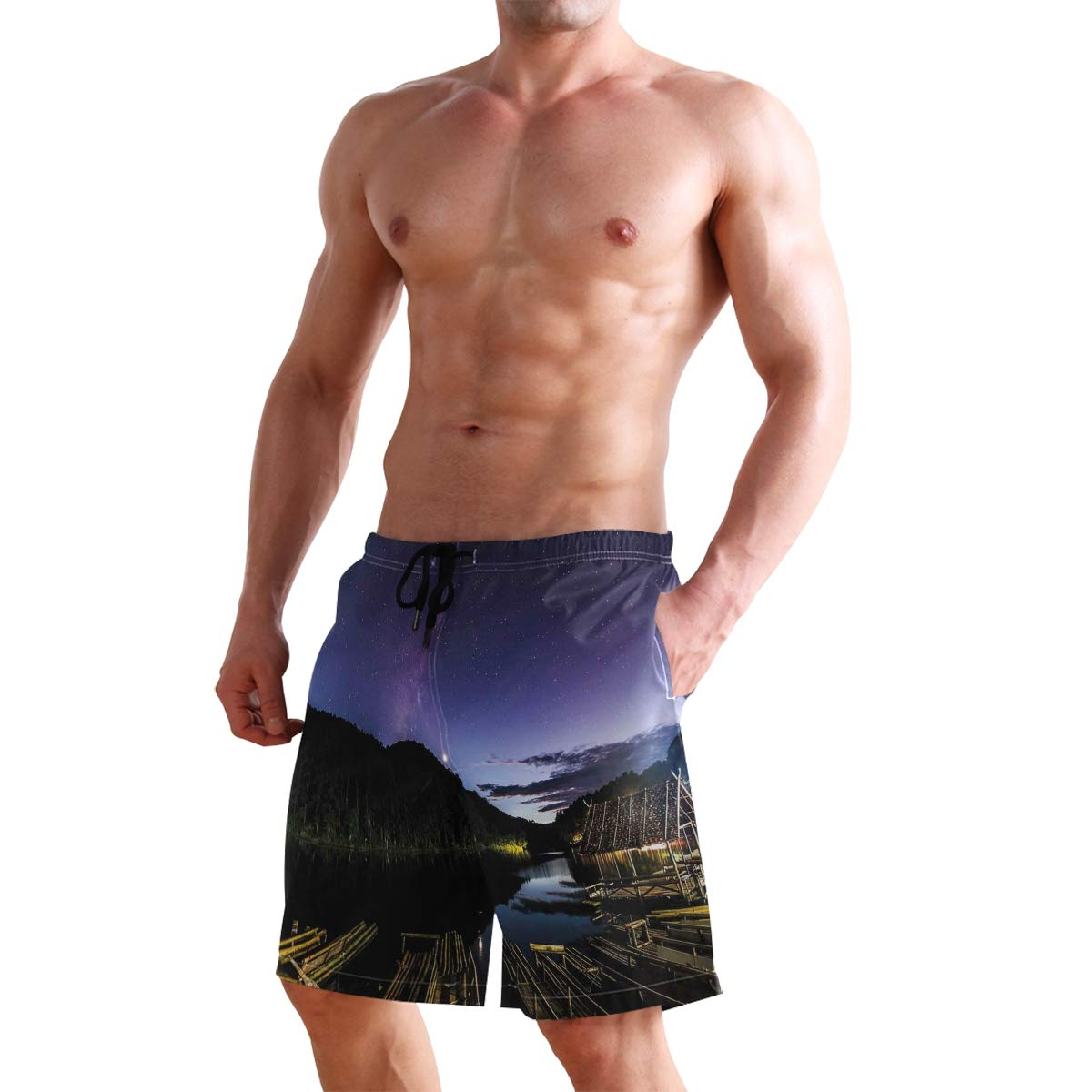 COVASA Mens Summer ShortsDisk Shaped Structured Hazy Band Milky Way Projection
