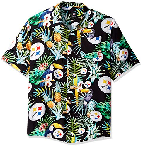 FOCO Men's Floral Tropical Button Up Shirt, Team Color, XL