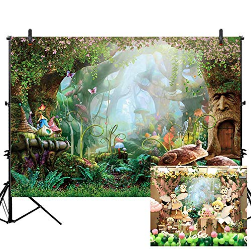 Allenjoy 7X5ft Spring Cartoon Fairy Tale Mushroom Enchanted Forest Wonderland Photography Backdrop Children Kids Fancy Birthday Party Decor Newborn Baby Shower Fantasy Backgrounds Studio Photo Booth