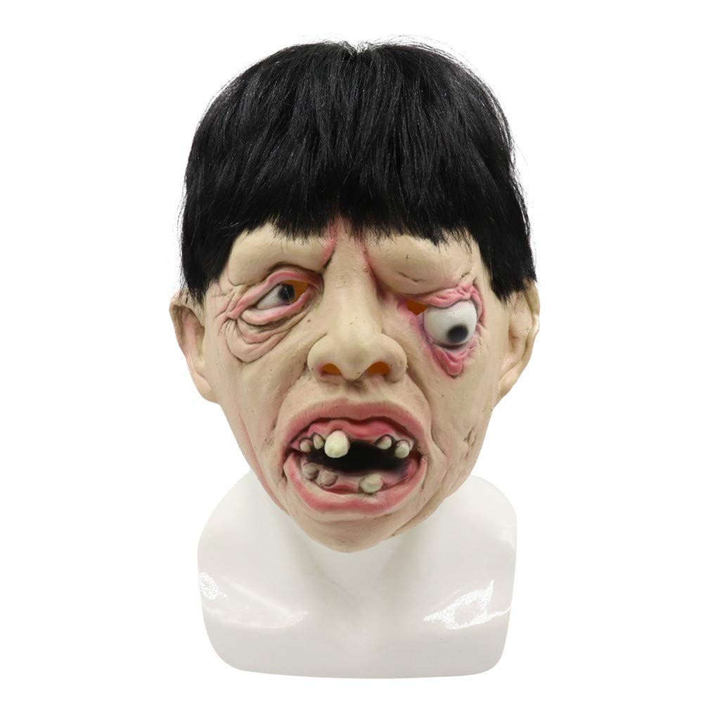 ❤️Byedog❤Halloween Full Head Mask Latex Scary Toothy One Eyed Person Mask Horror Creepy by Byedog_❤️Furnitures