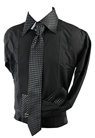 Boys Kids Button Shirt Tie Cuff Link /& Hankie Purple Silver Shiny Trim Design