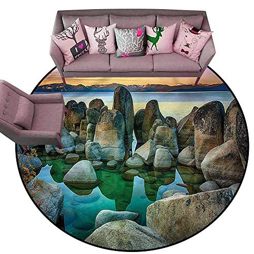 Kids Bedroom Mats Decorative Lake,Californian Coastline Diameter 78
