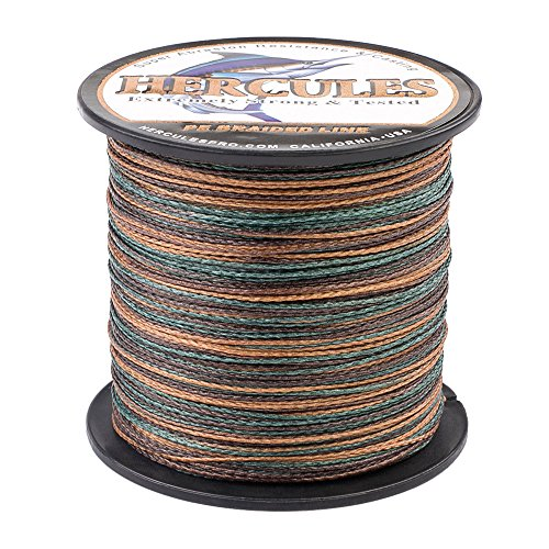 HERCULES Super Strong 100M 109 Yards Braided Fishing Line 80 LB Test for Saltwater Freshwater PE Braid Fish Lines 4 Strands - Camouflage, 80LB (36.3KG), 0.48MM