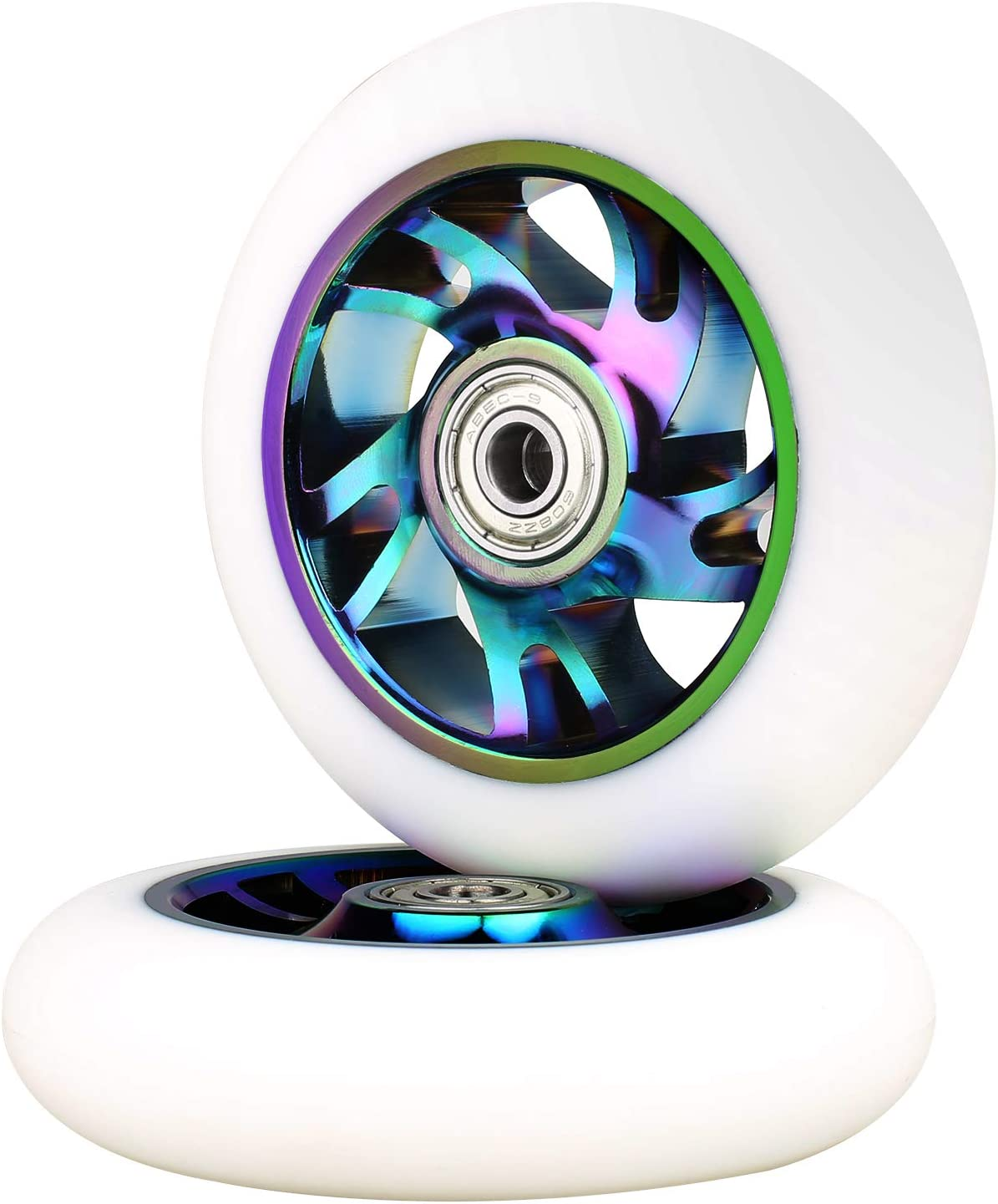Complete 2pcs VOKUL 2pcs 100mm Replacement Pro Scooter Wheels with ABEC-9 Bearing