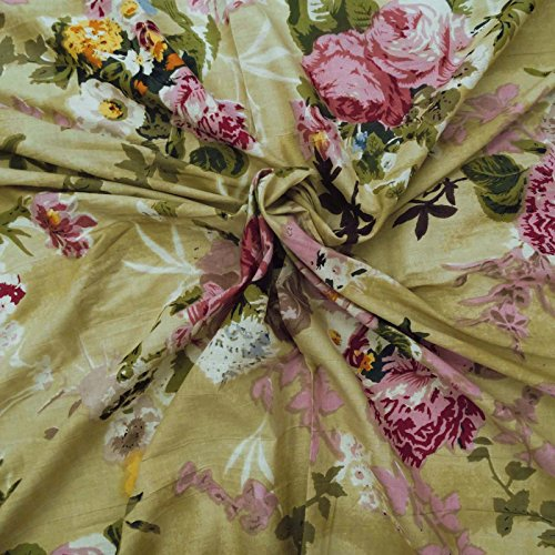 """Floral Print Pure Cotton Fabric Brown 41"""" Wd Crafting Dress Material 1 Piece"""