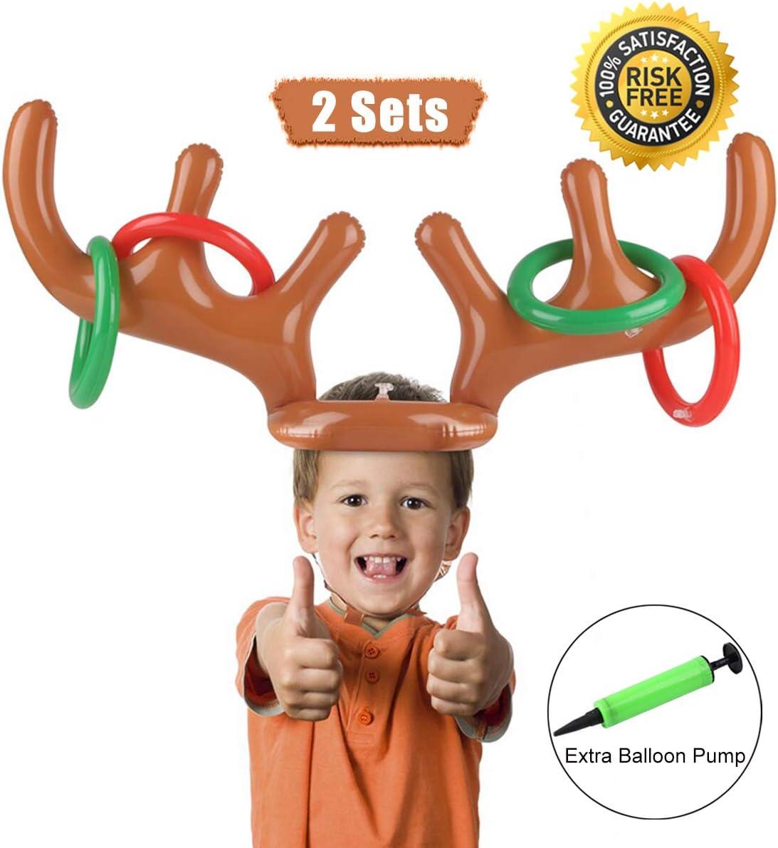 Weihnachten Geweih Ring Wurfspiel Satz enth/ält Gr/ünes Aufblasbares Rentier Geweih Stirnband und Bunt Bedrucktes Wurfring mit Pumpe f/ür Weihnachten 3 Geweihe, 18 Ringe, 1 Pumpe