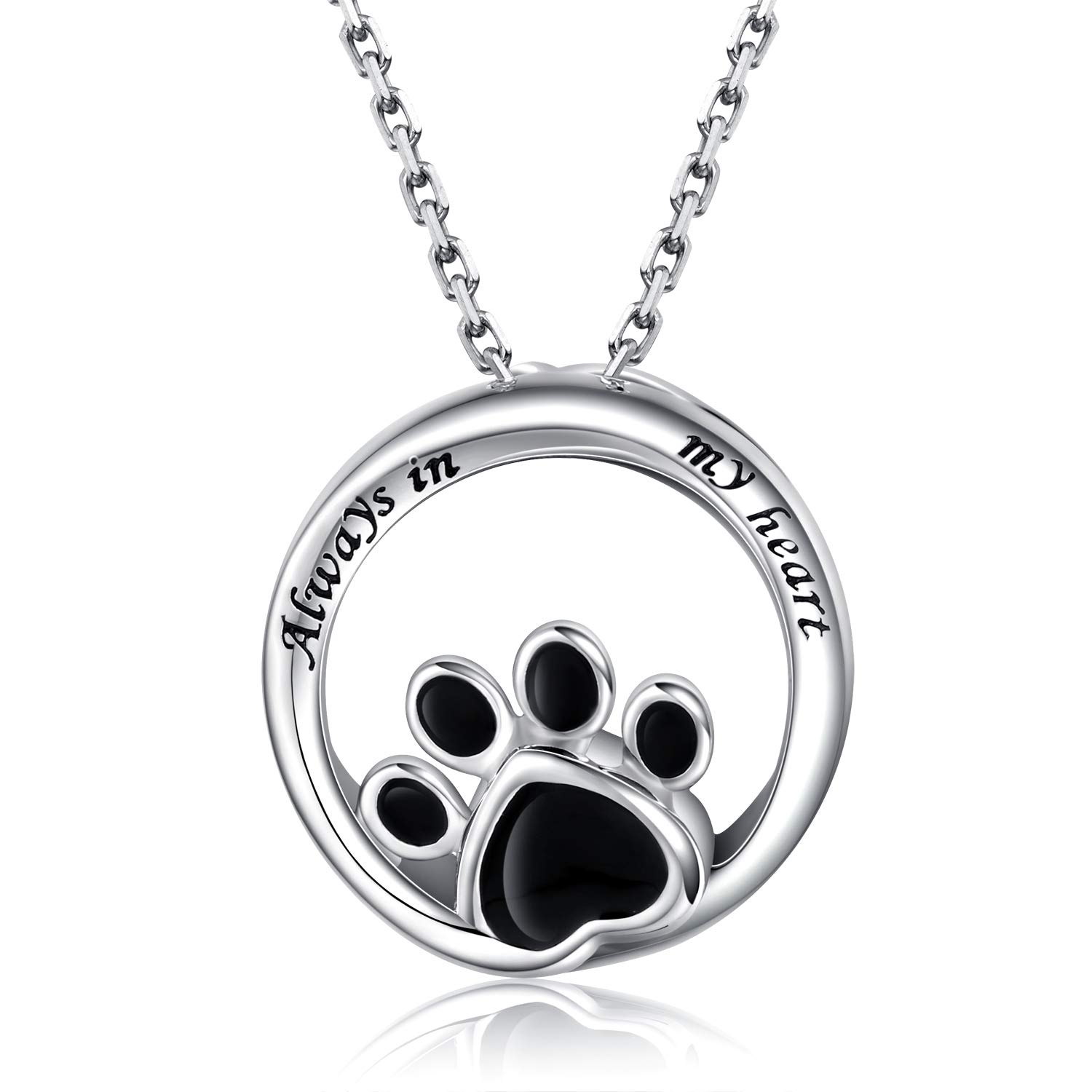 925 Silver Paw Print Urn Pendant Necklace for Cat Dog Pets Ashes - Forever in My Heart Pet Memorial Keepsake Cremation Jewelry by APOTIE