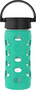 Lifefactory 12-Ounce BPA-Free Glass Water Bottle with Classic Cap and Protective Silicone Sleeve, Kale