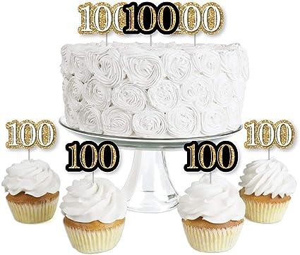 Amazon.com: Adultos de 100 cumpleaños – Oro – Postre Cupcake ...