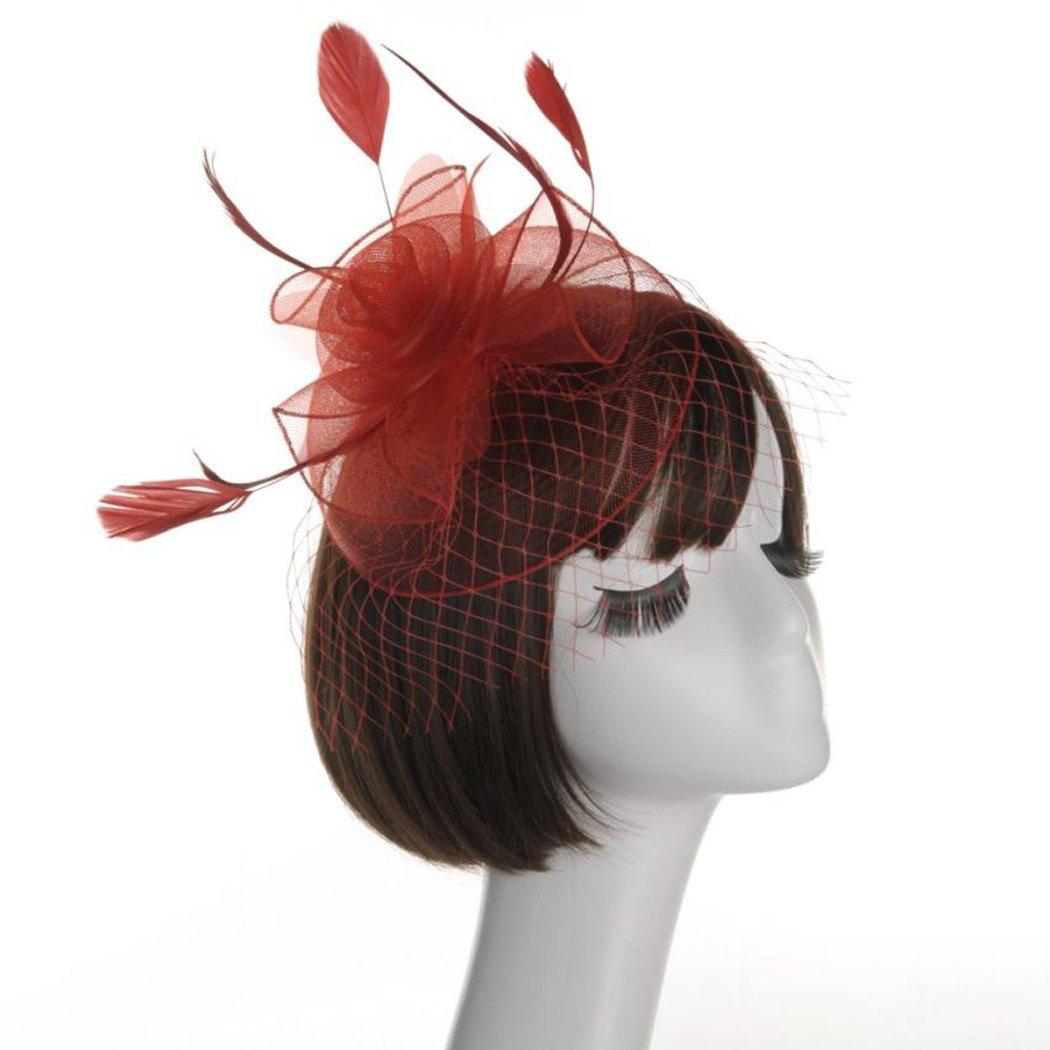 Krastal Women Fascinator Mesh Gauze Hat Feathers Veil Headwear Wedding Party Headband