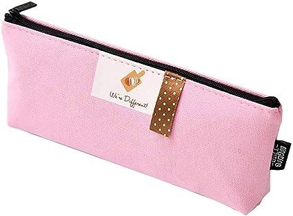 Qinlee - Estuche para lápices, diseño vintage de niña, color rosa: Amazon.es: Oficina y papelería