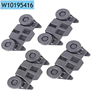 Premium Dishwasher Wheels Lower Rack W10195416 Replacement Part, Compatible with Whirlpool Kenmore KitchenAid AP5983730 PS11722152 W10195416V W10105417, Pack of 4