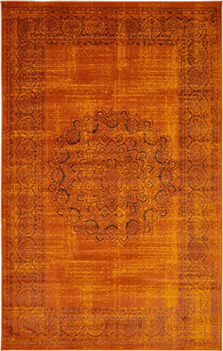 Luxury Modern Vintage Inspired Overdyed Area Rugs Terracotta 5' x 8' FT Artis Designer Rug Colorful Craft Rugs and Carpet
