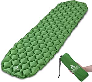 Hikenture Ultralight Sleeping Mat | Backpacking Sleeping Pad-Compact Inflatable Camping Air Mattress Pad for Camping,Sleeping,Backpacking,Travel,Hiking,Hike Camp Air Pad (Army Green,Blue)…