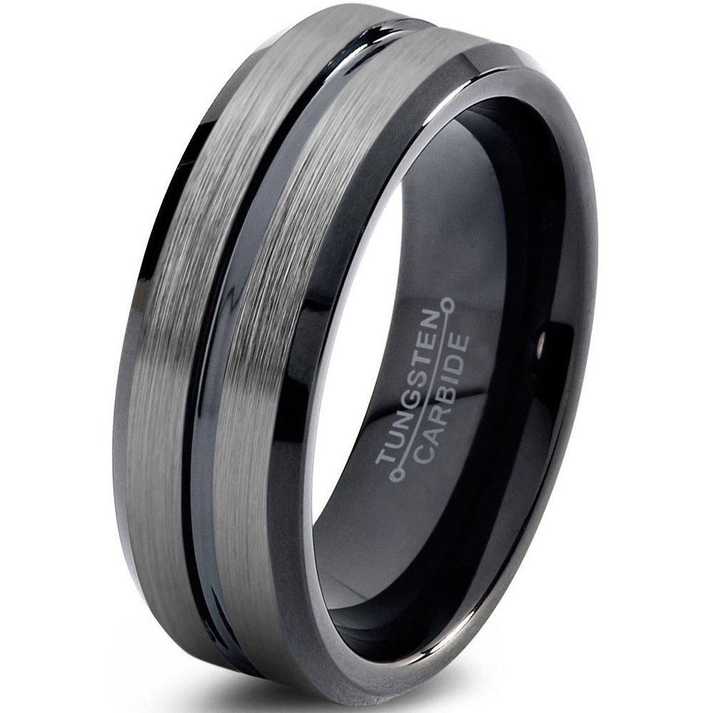 Tungsten Wedding Band Ring 8mm 6mm 4mm 10mm for Men Women Comfort Fit Black Beveled Edge Brushed Silver FREE Custom Laser Engraving Lifetime Guarantee