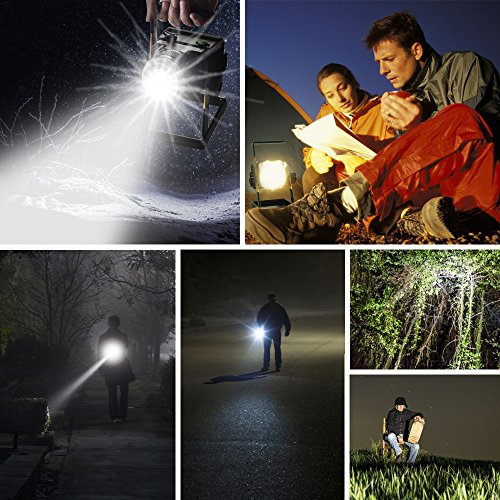 Rechargeable Work Lights, TOTOBAY Zoomable Outdoors Camping Emergency Lights with SOS Mode, Portable Floodlights with 3PCS Built-in Batteries to as Backup Power Supply by totobay (Image #6)