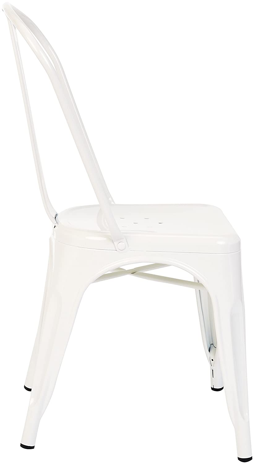 Pioneer Square Haley Stackable Metal Chair, Set of 4, Cloud White
