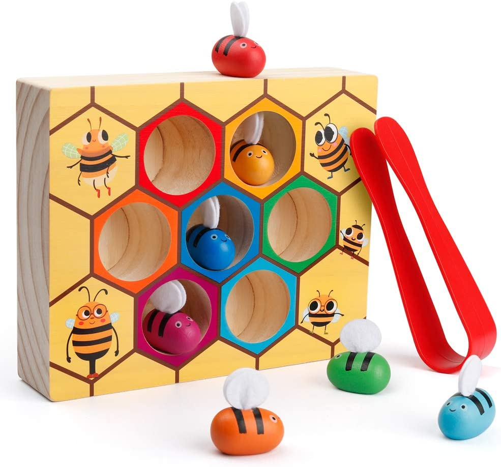 B07RZNG5PW Coogam Toddler Fine Motor Skill Toy, Clamp Bee to Hive Matching Game, Montessori Wooden Color Sorting Puzzle, Early Learning Preschool Educational Gift Toy for 2 3 4 Years Old Kids 61V0JPnpxwL
