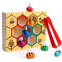 Coogam Toddler Fine Motor Skill Toy, Clamp Bee to Hive Matching Game, Montessori Wooden Color Sorting Puzzle, Early…