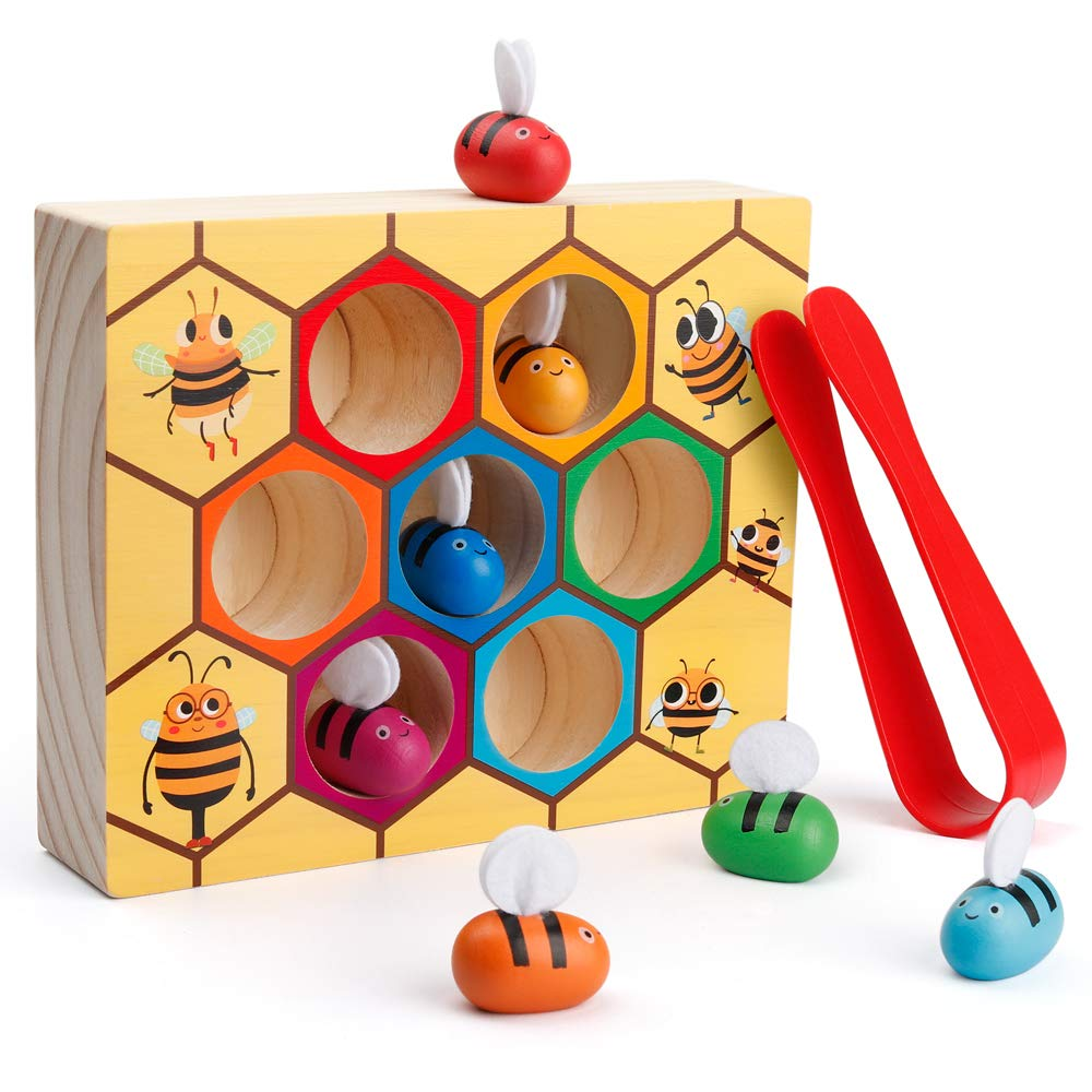 Coogam Toddler Fine Motor Skill Toy, Clamp Bee to Hive Matching Game, Montessori Wooden Color Sorting Puzzle