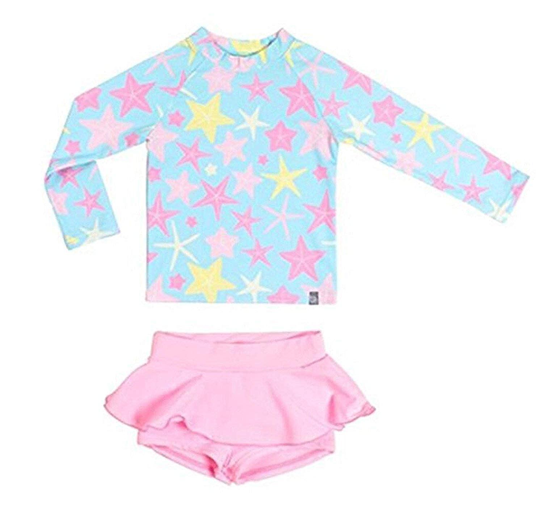 Sun Protection Swimwear Beachwear Set Baby//Toddler Girls Two-Pieces Swimsuit Long Sleeve Stripe UPF 50