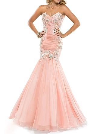 JAEDEN Womens Sweetheart Trumpet Mermaid Evening Prom Dress Peach UK16