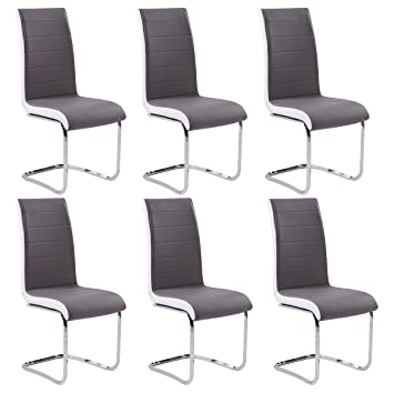Gizza Dining Chairs Modern Artificial Leather Grey White Metal