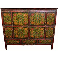 Antique Tibetan Cabinet with Flower Motifs