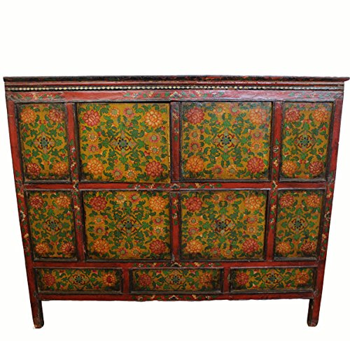 Antique Tibetan Cabinet with Flower Motifs by Antique Chinese Cabinet