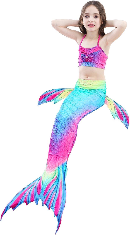 AUIE SAOSA Girl Mermaid Tail for Swimming Flower Headband Swimwear Cover Up Sets Girls Goggles 7pcs Rainbow 2R150