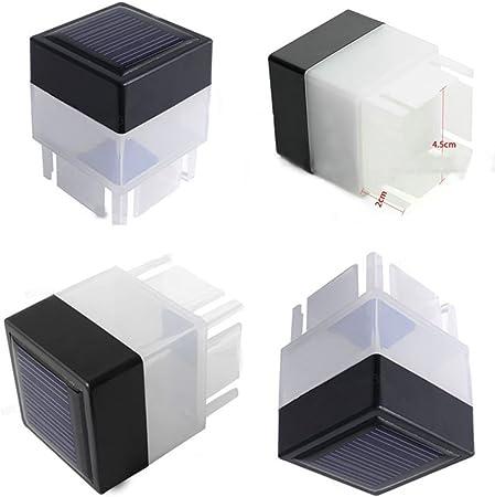 Post Luz Jardín Exterior Energía Solar LED Lámpara de paisaje de valla Cuadrado Tapa De Cubierta
