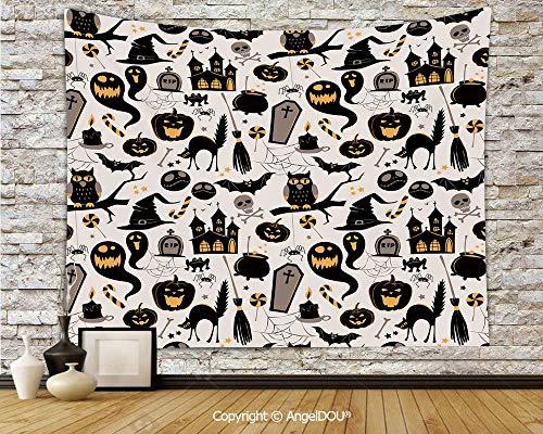 AngelDOU Vintage Halloween Tapestries for Bedroom Wall Hanging Halloween Cartoon Jack o Lantern Tombstone Skulls and Bones Decorative Polyester Home Improvement.W78.7xL59(inch) ()