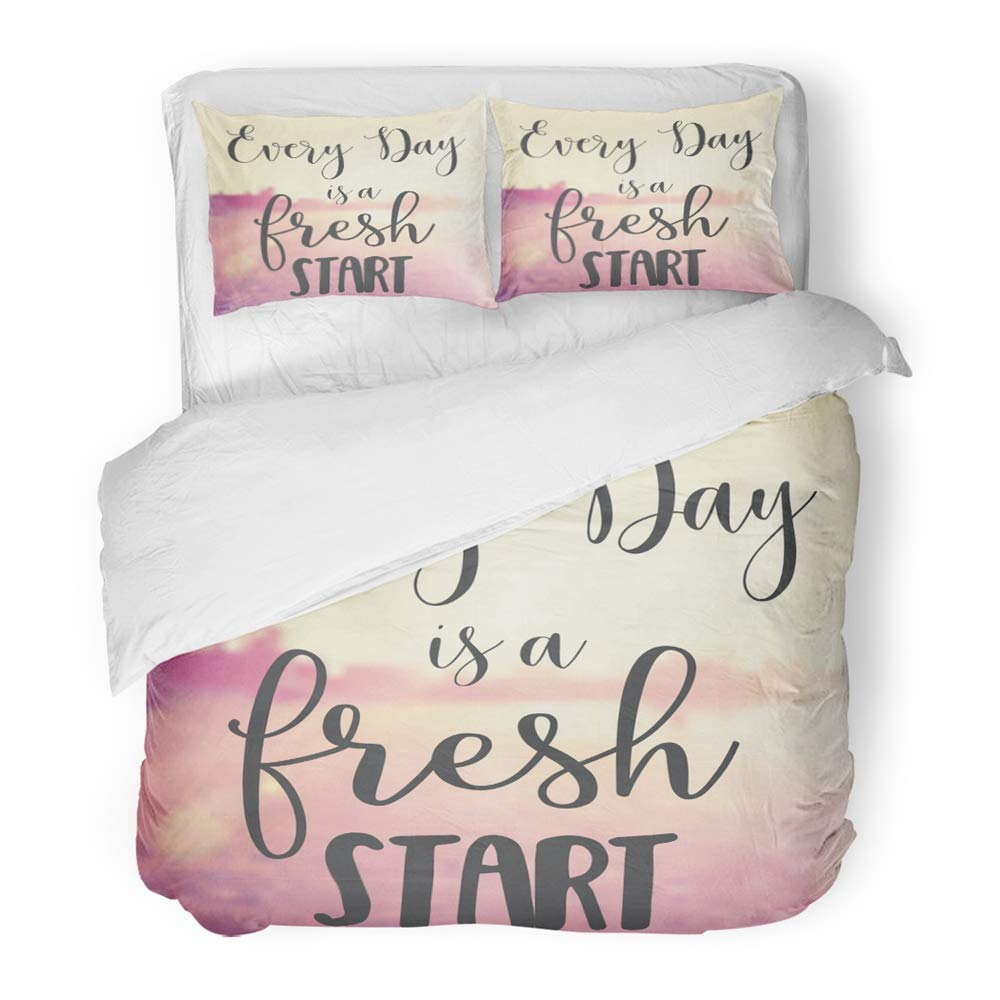 Emvency 3 Piece Duvet Cover Set Brushed Microfiber Fabric Dream Quote Every Day is Fresh Start Summer Breathe Friendship Just Beach Blur Breathable Bedding Set with 2 Pillow Covers Full/Queen Size