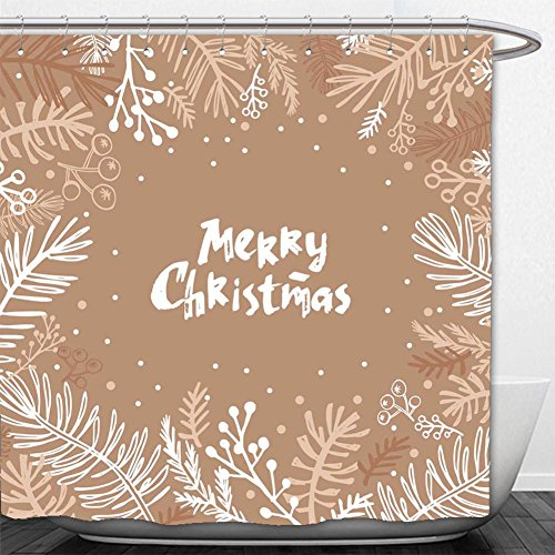 Beshowere Shower Curtain hand drawn christmas card holiday christmas background unique hand drawn design (State Farm Polo)