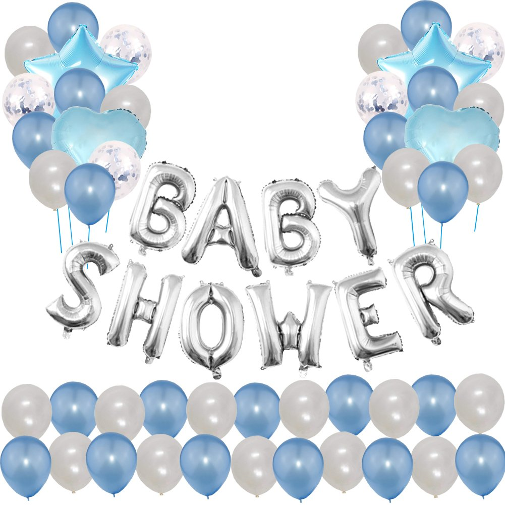 "Toupons Baby Shower Party Decorations Balloons For Boy- Blue ""Baby Shower""Letter Balloon Banner & 40pcs Latex Balloons & 5pcs Confetti Balloons & 4pcs Star Heart Foil Balloon (Blue)"
