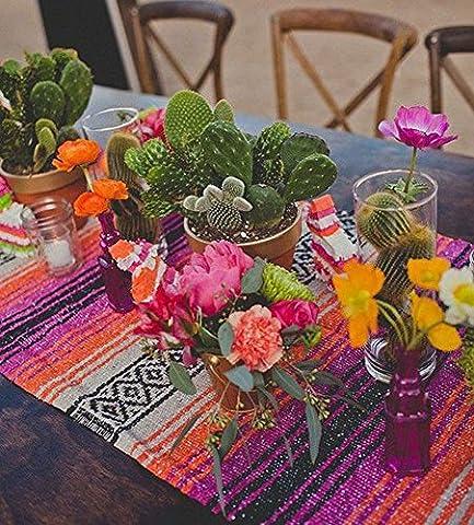 Del Mex (TM) Traditional Falsa Mexican Blanket Table Runner (Pink/Orange) - Fiesta Table