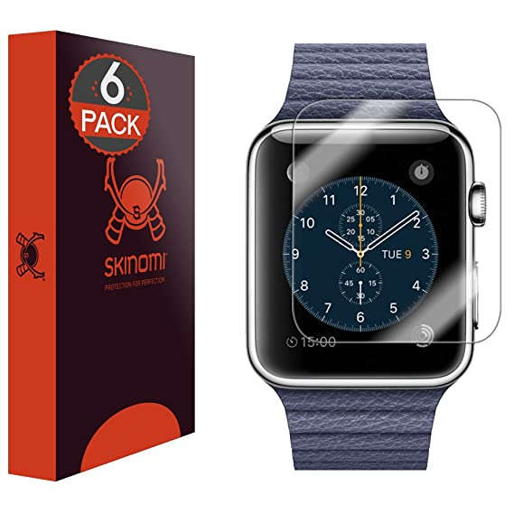 Skinomi Screen Protector Compatible With Apple Watch Series 1 42mm6 Pack Clear Techskin Tpu Anti Bubble Hd Film