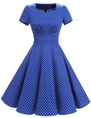 DRESSTELLS Vintage 1950s Solid Color Prom Dresses Short Sleeved Retro Audery Swing Dress Royal Blue Small White Dot 2XL (White Dot Dress)