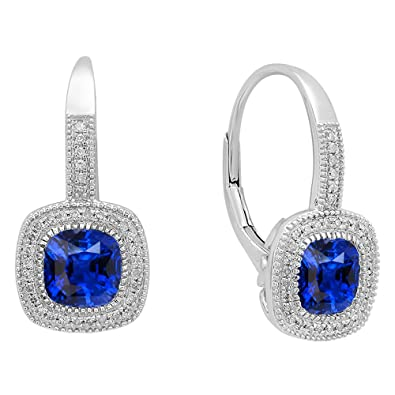 8acb808cd Dazzlingrock Collection 10K Each 6 MM Cushion Lab Created Blue Sapphire &  Round Diamond Dangling Drop
