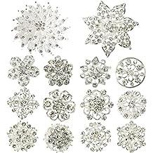 kilofly 14pc Bridal Rhinestone Crystal Flower Bouquet Corsage Wedding Brooch Pin