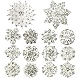 (US) kilofly 14pc Bridal Rhinestone Crystal Flower Bouquet Corsage Wedding Brooch Pin