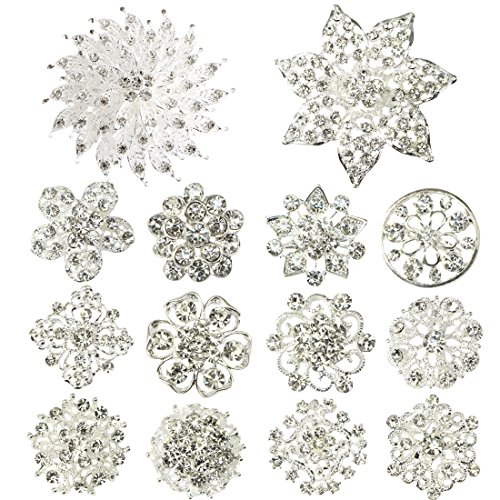 kilofly 14pc Bridal Rhinestone Crystal Flower Bouquet Corsage Wedding Brooch Pin (Bouquet Jewelry Set)