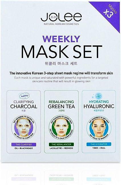 JoLee Mascarilla Facial Semanal, 3 Pack, Kit de Desintoxicación ...