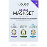 JoLee Weekly Face Sheet Mask Set 3 Pack - Charcoal Bubble Mask, Green Tea & Collagen Mask, Hyaluronic Acid Gel Mask Facial Detox Kit Deep Acne Purifying Mask