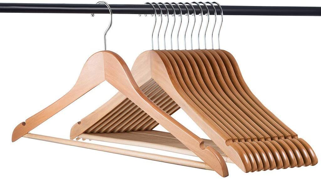 Home-it 30 Pack Natural Wood Solid Wood Clothes Hangers, Coat Hanger, Wooden Hangers