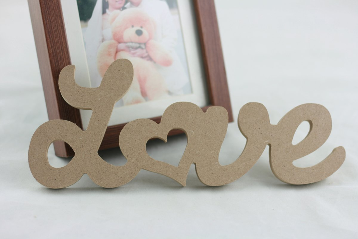 Cheonus 1pcs Love Sign Decor Rustic Wedding,Bridal Shower Supply Craft Wall Hanging Wooden Letter Density Board Baby Shower Home Party decoration